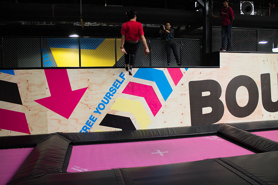 A referee shows off his expert trampolining skills at Bounce Thailand in Bangkok