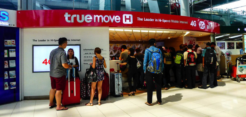 The TrueMove sales booth at Suvarnbhumi Airport in Bangkok provides Thai sim cards for tourists