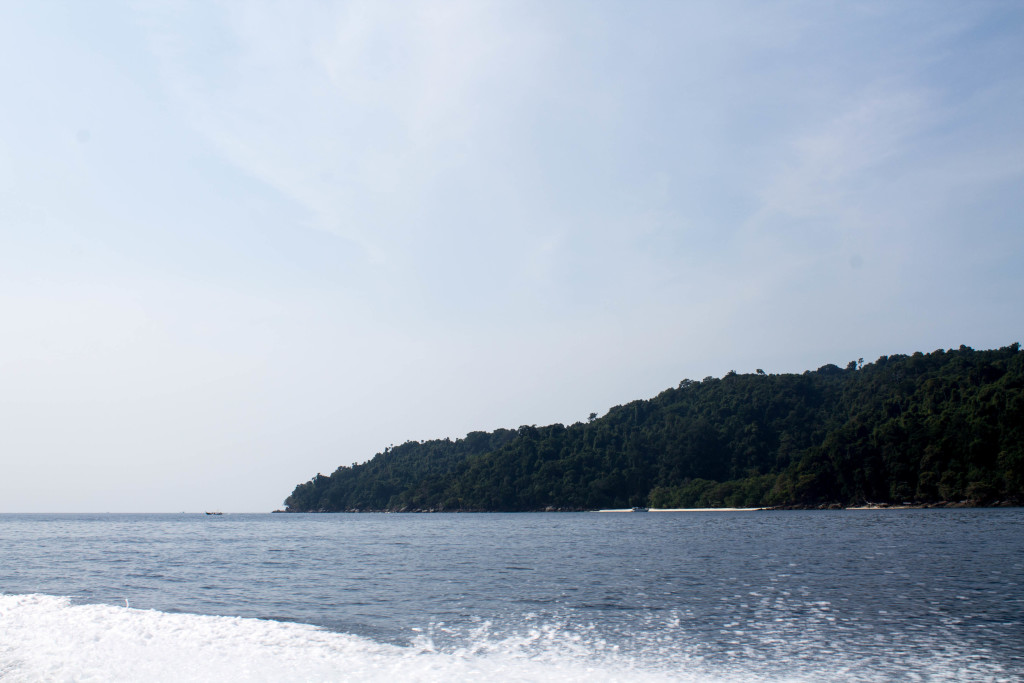 Arriving at the Surin Islands by speedboat