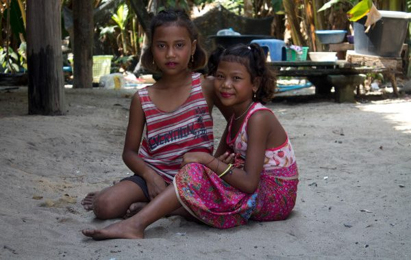 Two young girls from the Moken tribe on the Surin Islands