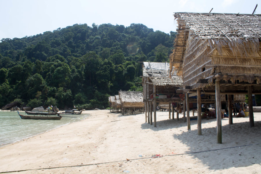 The homes of the Moken people, which were rebuilt after the tsunami in 2004