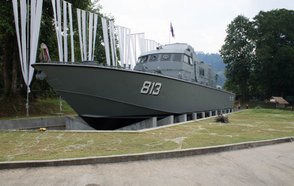 The Thai Navy boat 813 that was moored off the coast on the day of the tsunami and carried 2km inland by the waves