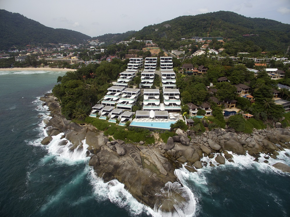 An aerial view of the expensive resort