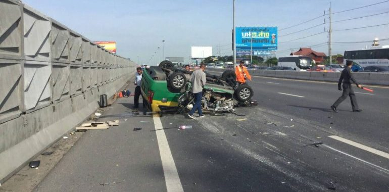 Four American tourists who had just arrived in Bangkok were travelling in this taxi when it crashed