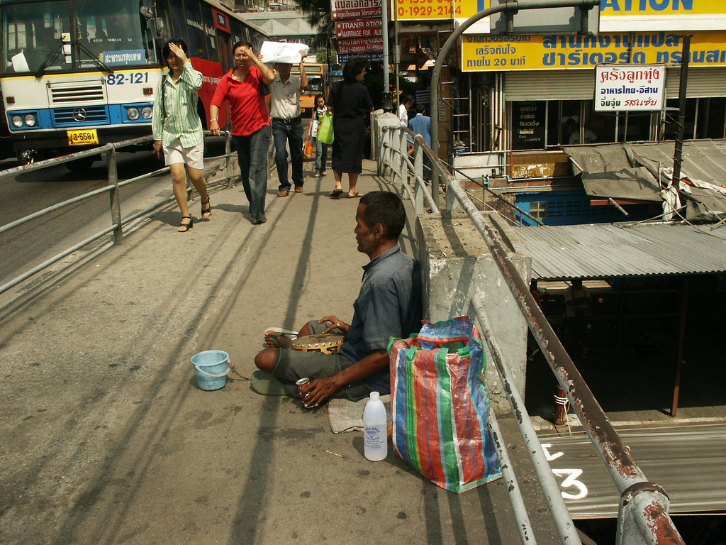 Beggars in Thailand, like this man in Bangkok, can be arrested