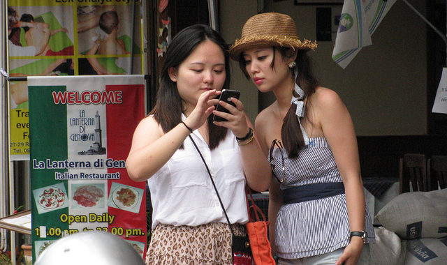 Two Chinese tourists in Thailand