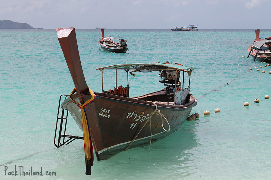 A longtail boat used for day trips to neighboring small islands