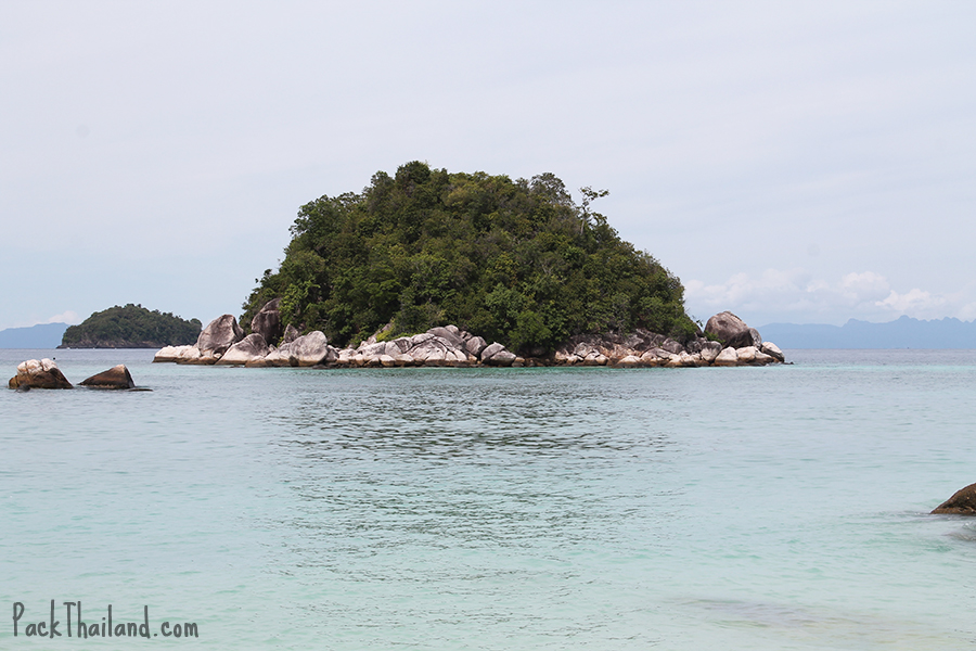 The view of Koh Uhsen from the southern tip of Koh Lipe Sunrise Beach