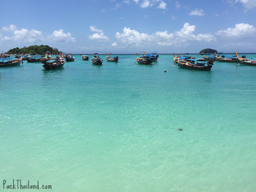 The view from Koh Lipe Sunrise Beach of turquoise seawith the islands Koh Kra, left and Koh Talak, right