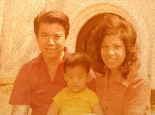 Rangsan Torsuwan as a young man, sometimes in the 60s or 70s, with his wife and son