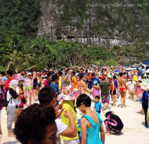 The picture went viral on Facebook, with many people shocked at how busy the beach was