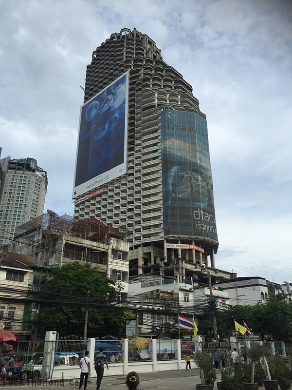 The Sathorn Unique in Bangkok, an abandoned building said to be haunted bu a major attraction for urban explorers