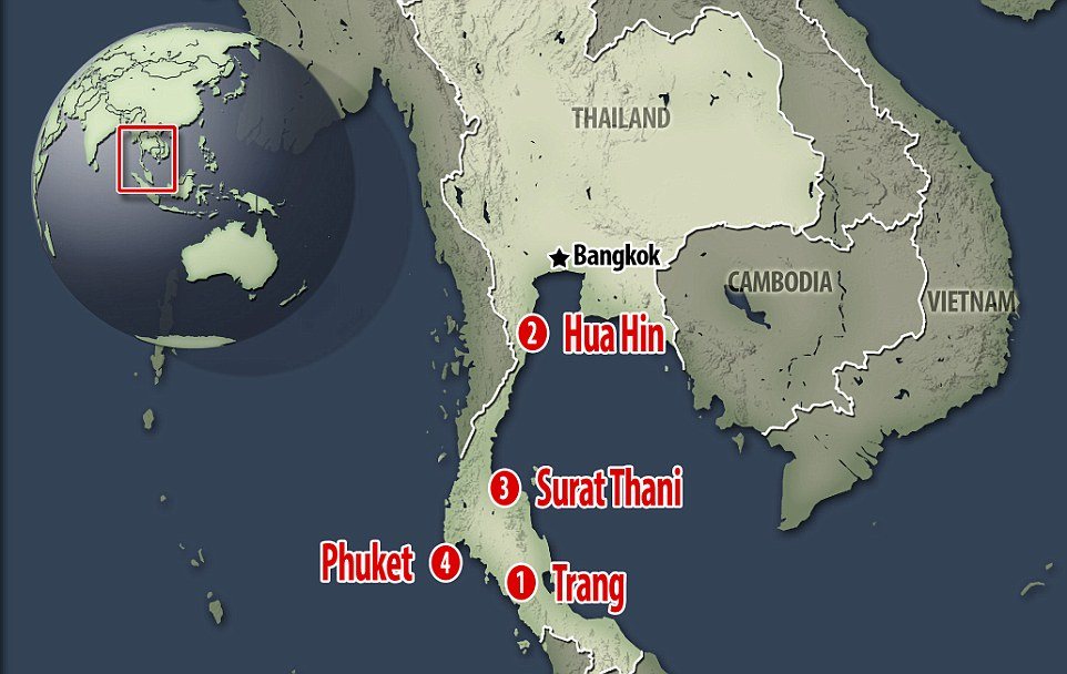 A map of the locations in Thailand hit by bombs - Hua Hin, Phuket, Surat Thani and Trang