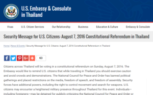 The U.S. embassy's warning on travel to Thailand