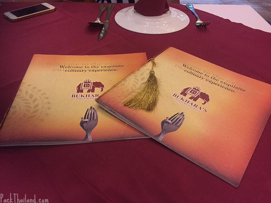 The menus laid out on the table...