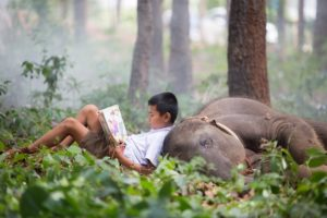 The boy takes a break by laying down with the baby elephant