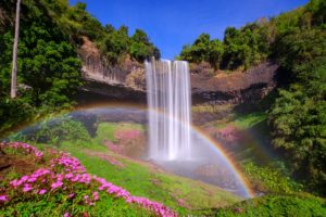 A breath-taking shot of a double rainbow and the Tayicseua waterfalls in Laso