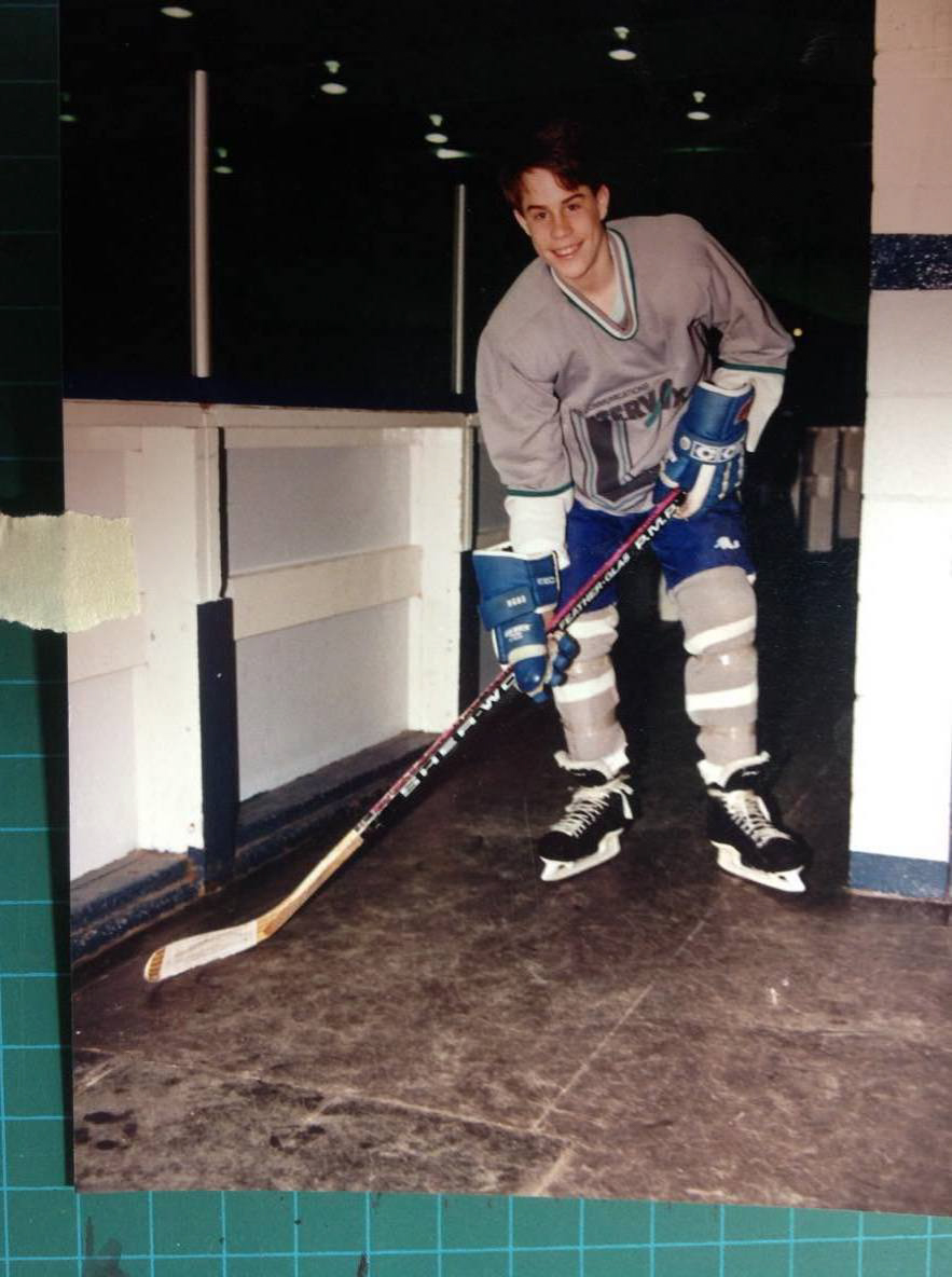 Julian playing ice hockey before he gave up everything to be a monk
