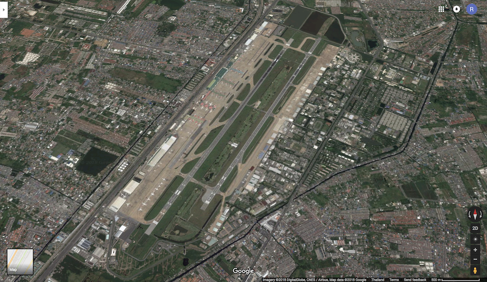 The Kantarat Golf Course can be seen between the two runways at the Don Muang Airport in Bangkok Thailand